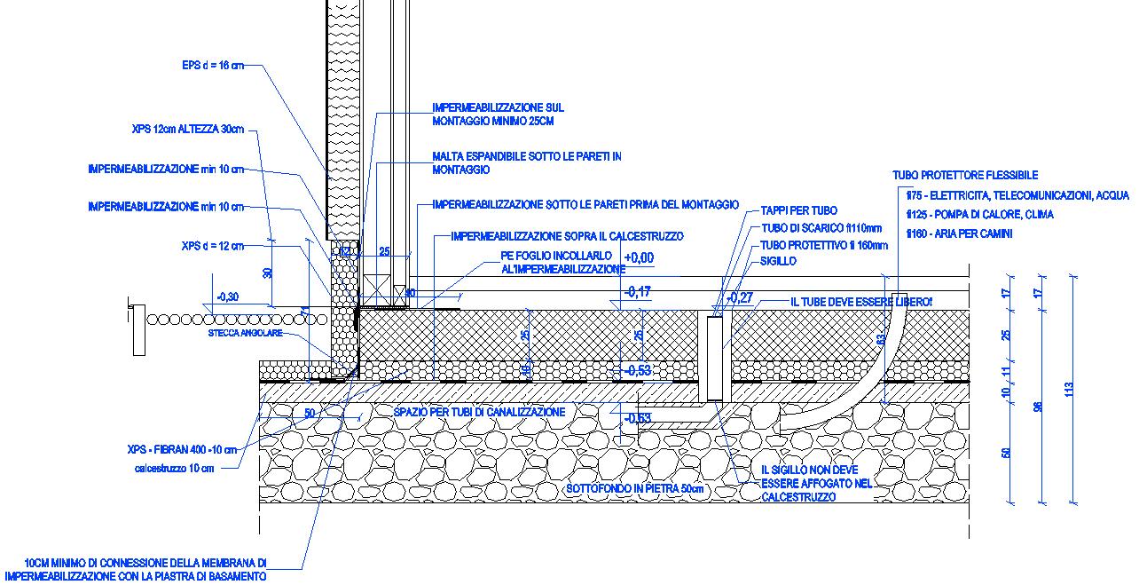 platea casa timbreframe piastra di base sezione